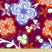 Primativa Cotton Fabric - Floral - Plum