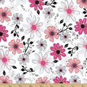 Princess Pretty Flowers Cotton Fabric T-00308