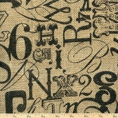 Printed Burlap Tossed Type Fabric - Brown