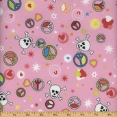 Printed Flannel Cotton Fabric - Pink