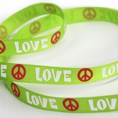 Printed Love and Peace Sign Ribbon 5 yds - Green - Clearance