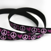 Printed Love and Peace Sign Ribbon 5yds - Black - Clearance