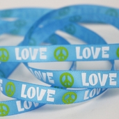 Printed Love and Peace Sign Ribbon 5yds - Blue - Clearance