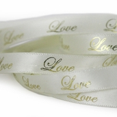 Printed Love Ribbon 3/8in. - Cream/Gold - 55yds.