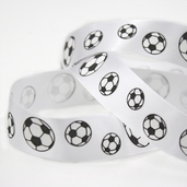 Printed Soccer Ribbon - White - 27.5yds