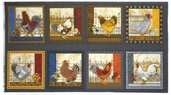 Prized Poultry Panel Cotton Fabric - Black ALX-13005-2 BLACK