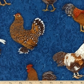 Prized Poultry Rooster Toss Cotton Fabric - Teal ALX-13004-213 TEAL