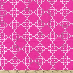 Quatrefoil Cotton Fabric - Pink