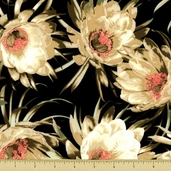 Queen of the Night Floral Cotton Fabric - Cream K7100-33