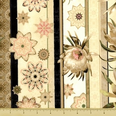 Queen of the Night Floral Stripe Cotton Fabric - Cream K7102-33