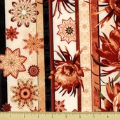 Queen of the Night Floral Stripe Cotton Fabric - Red K7102-5