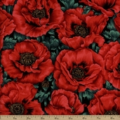 Quiet Place Large Floral Cotton Fabric - Black