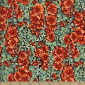 Quiet Place Packed Floral Cotton Fabric - Red