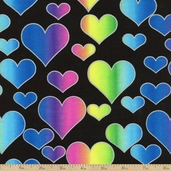 Rainbow Hearts Cotton Fabric - Black
