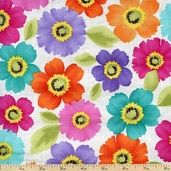 Rainbow Quilting Flowers Cotton Fabric - White