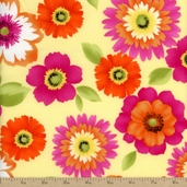 Rainbow Quilting Large Floral Cotton Fabric - Yellow