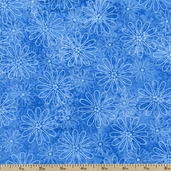 Rainbow Quilting Petals Cotton Fabric - Blue-CLEARANCE
