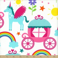 Rainbows And Unicorns Princess Cotton Fabric - White