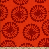 Raj Abstract Floral Cotton Fabric - Orange