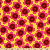Raj Floral Cotton Fabric - Yellow