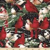 Random Thoughts About Winter Birds Cotton Fabric - Black