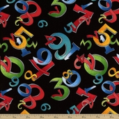 Random Thoughts Cotton Fabric - Numerals - Black