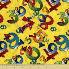 Random Thoughts Cotton Fabric - Numerals - Yellow - Clearance