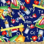 Random Thoughts Cotton Fabric - School is Cool - Blue
