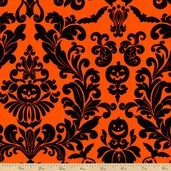 Raven Damask Cotton Fabric - Orange