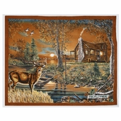 Realtree Cabin Buck Panel Fleece Fabric - Brown