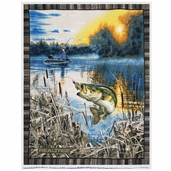 Realtree Bass Fishing Fleece Panel - Blue
