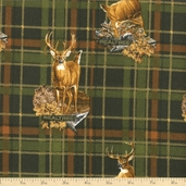 Realtree Deer Plaid Flannel Fabric - Green