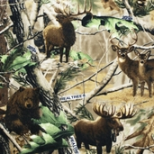 Realtree Hidden Animals Fleece Fabric - Brown