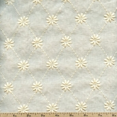 Rebecca Embroideries Diamond Cotton Fabric - Natural BQT-13793-14 NATURAL