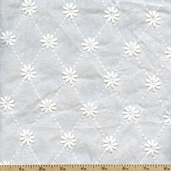 Rebecca Embroideries Diamond Cotton Fabric - White BQT-13793-1 WHITE