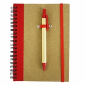 Recycled Spiral Bound Notebook with Pen - Natural