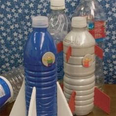 Recycled Water Bottle Rocketship