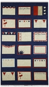 Red, White And Free Labels Panel Cotton Fabric - Navy
