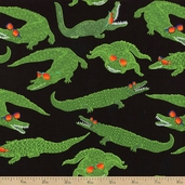 Reef Madness Alligator Cotton Fabric - Black