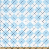 Remix Argyle Cotton Fabric - Sky