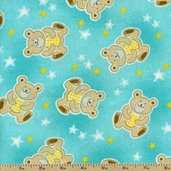 Retro Baby Bears Cotton Fabric - Aqua 5308-11 - Clearance