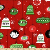Retro Christmas Ornaments Cotton Fabric - Holiday