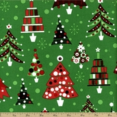 Retro Christmas Trees Cotton Fabric - Holiday