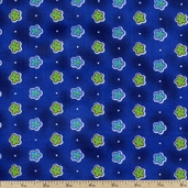 Retro Flower Power Cotton Fabric - Blue 5294-77