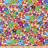 Retro Flower Power Cotton Fabric - Green 5295-77