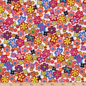 Retro Flower Power Cotton Fabric - Pink 5295-99
