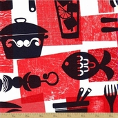 Retro Kitchen Cotton Fabric - Potluck - Red - CLEARANCE