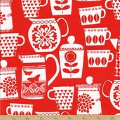 Retro Kitchen Cotton Fabric - Put A Lid On It - Clementine