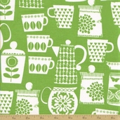 Retro Kitchen Cotton Fabric - Put A Lid On It - Green