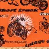 Retro Riders Biker Collage Cotton Fabric - Orange 35517-5